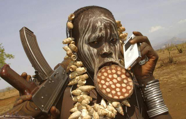 African Warrior Ipod And Ak 47 Check