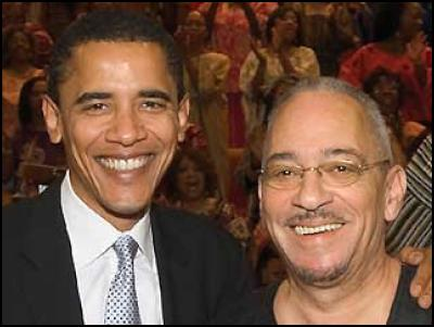 Democratic presidential candidate Barack Obama denounced ``ridiculous\'\' statements made by the Reverend Jeremiah Wright, using his strongest language to date to distance himself from his former pastor.