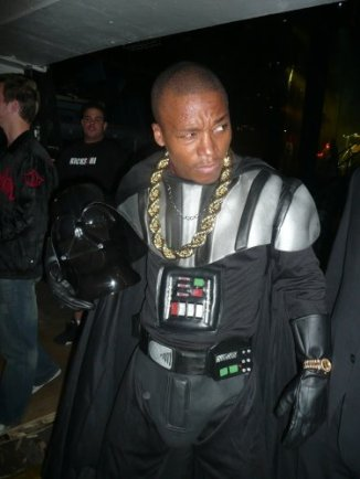 Lupe posing as Darth Vader on The Glow in the Dark Tour