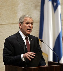 President Bush addresses the Knesset in Jerusalem, Thursday, May 15, 2008.  (AP Photo/Susan Walsh)