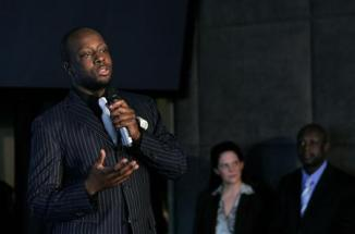 """Musician Wyclef Jean announces his \""""Together For Haiti\"""" program to help provide food and employment to the struggling country of Haiti during a news conference at the Gansevoort Hotel in New York May 20, 2008."""