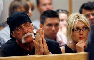 Terry Bollea, also know as Hulk Hogan, left, and his daughter Brooke listen as Bollea\'s son Nick is sentenced to eight months in county jail Friday, May 9, 2008 in Clearwater, Fla. The 17-year-old son of the wrestling superstar was sentenced after he pleaded no contest to causing a crash that seriously injured his best friend. (AP Photo/Joseph Garnett, Jr., POOL)