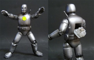 "For this chromed-out version of Iron Man\'s first attempt at a flying suit, Saotome buffed all the joint holes for a smooth, retro look. He then carved out a hatch on the back and rigged an LED from a dollar store to illuminate the chest. I just love Iron Man,"" Saotome said. \""I\'ve probably made nine or 10 variations on the Iron Man character.\"""