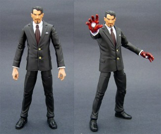 "Saotome is revving up his collection of Iron Man custom figures to coincide with Friday\'s release of the feature film. To ramp up for Iron Man, Saotome mostly created variants on the character\'s armored costume -- but a few were made to look like Robert Downey Jr.\'s version of Tony Stark. ""I\'m also planning one with a tank top and a unit on his chest that\'ll light up,\"" said Saotome."