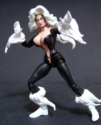 "This Black Cat figure was inspired by an issue of The Amazing Spider-Man. Saotome is quick to point out he\'s not crafting from scratch, but ""building on what\'s already been done.\"" Though he often takes requests for commissioned works, he usually looks to his favorite comics for inspiration. Each augmented action figure takes about three days to build, though it varies depending on the complexity of the design. Photo courtesy Jin Saotome"