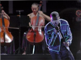 Entertainer Kanye West performs during the Desert Rhythm Festival in Dubai October 26, 2007. West, Method Man, Redman, Common and their record companies were sued on Thursday by late U.S. jazz musician Joe Farrell\'s daughter, who accused them of using her father\'s music without approval.