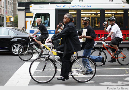 The Rev. Al Sharpton sits tall astride his Fuji cycle on 14th St. in Union Square at the Critical Mass bike ride Friday night.