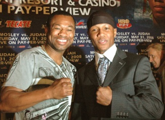 BOXING-THREE TIME WORLD CHAMPION SHANE MOSLEY (LEFT) OF POMONA, CALIFORNIA AND TWO TIME WORLD CHAMPION (RIGHT) ZAB JUDAH, FROM BROOKLYN, N.Y. MEETTHE PRESS IN LOS ANGELES TO ANNOUNCE THEIR UPCOMING FIGHT ON MAY 31, 2008 IN LAS VEGAS, NEVADA.
