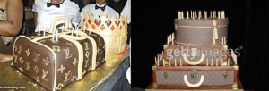 Lil' Wayne's cake and as shaped like a Louis Vuitton bag and Janet Jackson's three-tier LV luggage cake JD got her for her 40th birthday party.- Bossip