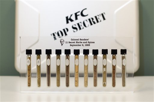 A commemorative representation of the 11 secret herbs and spices Colonel Harland Sanders made famous in his recipe for Kentucky Fried Chicken is shown Monday, Sept. 8, 2008 at KFC Headquarters in Louisville, Ky. (AP Photo/Brian Bohannon)