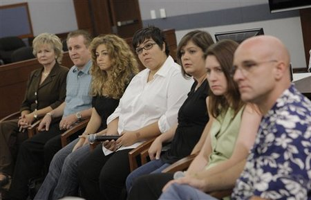 urors who convicted O.J. Simpson of armed robbery and kidnapping listen to a question from the media during a news conference at the Clark County Regional Justice Center in Las Vegas, Sunday, Oct. 5, 2008. From left are Sherian Eckart, David Wieberg, Dora Pettit, Consuelo Saldivar, Teresa Owens, Michelle Lyons, and Paul Connelly. (AP Photo/Jae C. Hong)