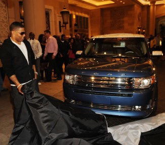 Nelly unveils his custom Ford Flex at his surprise birthday party at Lavo Restaurant and Nightclub on November 2, 2008 in Las Vegas, Nevada.  (Photo by Denise Truscello/WireImage)