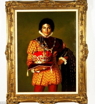 signed oil painting of MJ dressed as a King