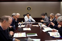 President Barack Obama is briefed about the H1N1 flu in the Situation Room 4/24/09