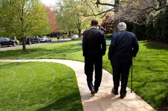 President Barack Obama and Senator Ted Kennedy walk on the grounds of the White House, before signing of the Kennedy Service Act at the SEED School in Washington D.C. 4/21/09.