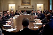 President Barack Obama meets with members of his Cabinet in the Cabinet Room at the White House April 20, 2009