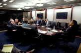 President Barack Obama meets in the Situation Room for a briefing April 14, 2009, with Cabinet members and advisors.