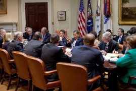 President Barack Obama meets with credit card representatives April 23, 2009, in the Roosevelt Room at the White House.