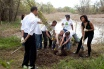 President Barack Obama and First Lady Michelle Obama participate in tree plantings at the Kenilworth Aquatic Gardens in Washington 4/21/09