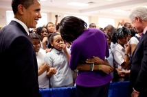 President Barack Obama and First Lady Michelle Obama are welcomed by school children at the Seed school in Washington DC after signing of the Kennedy Service Act for National Service 4/21/09.