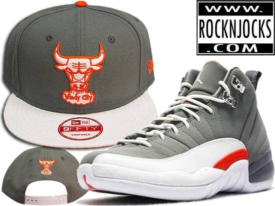 Rock-N-Jocks just back in this Restock of this Perfect Match for the Retro  12 Orange Grey Jordans with this Custom Chicago Bulls New Era snapback. 0425f0a55d5